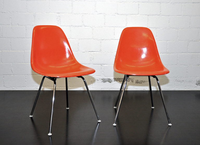 Eames Side Chair DSX Fiberglas orangerot