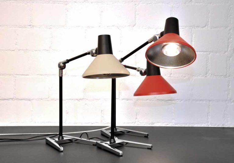 Schreibtischleuchte Derungs Metallschirm rot Fuss verchromt