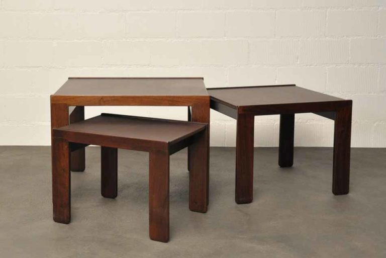 Beistelltisch-Set, Afra und Tobia Scarpa für Cassina, Palisanderholz