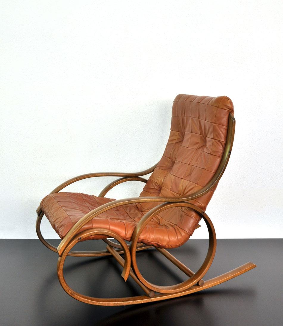 Schaukelstuhl Braunes Leder Patchwork 1 Cooper73 Vintage Mobel