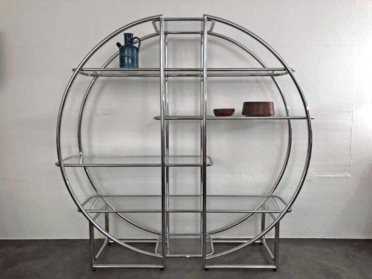 Rundes Metallgestell mit 6 Glastablaren