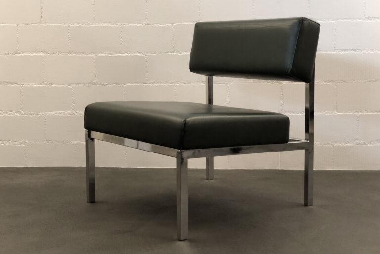 Lounge Chair, dunkelgrünes Leder