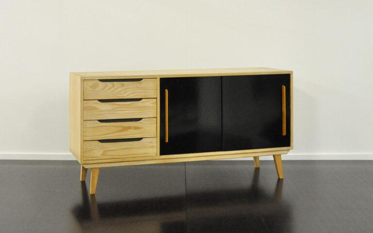 Sideboard aus Fichtenholz, Victoria-Möbel schwarz
