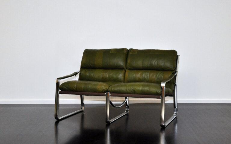 2er Ledersofa grün